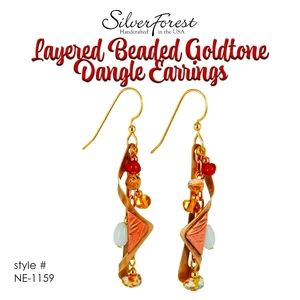 Silver Forest Layered Bead Goldtone Dangle Earring